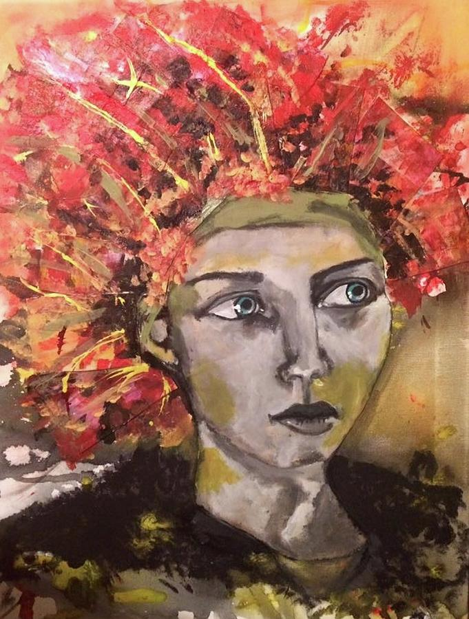 Portrait Mixed Media - Lady In Red Headdress by Milagros Suriano-Rivera