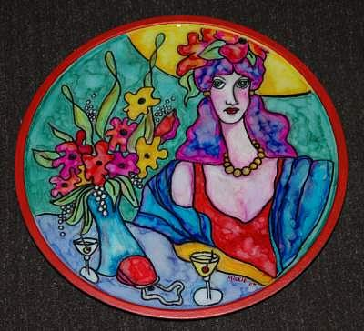 Lazy Susan Mixed Media - Lady In Red Lazy Susan by Mickie Boothroyd