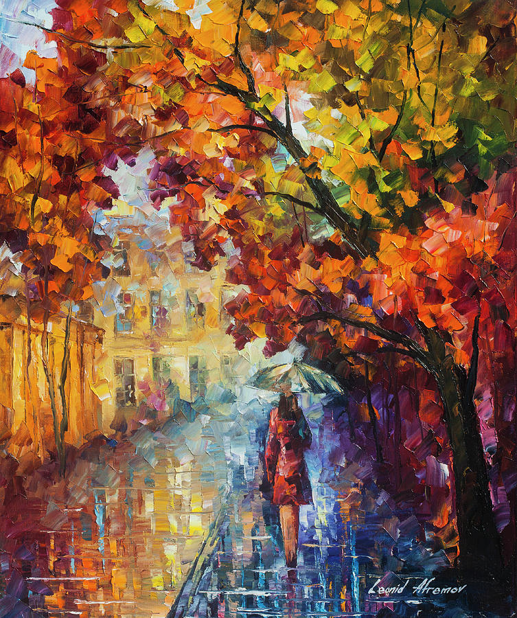 Rt Painting - Lady In Red by Leonid Afremov