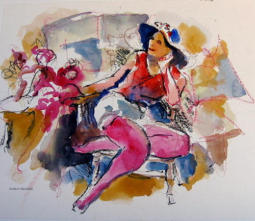 Figures Painting - Lady In Red by Murray Keshner
