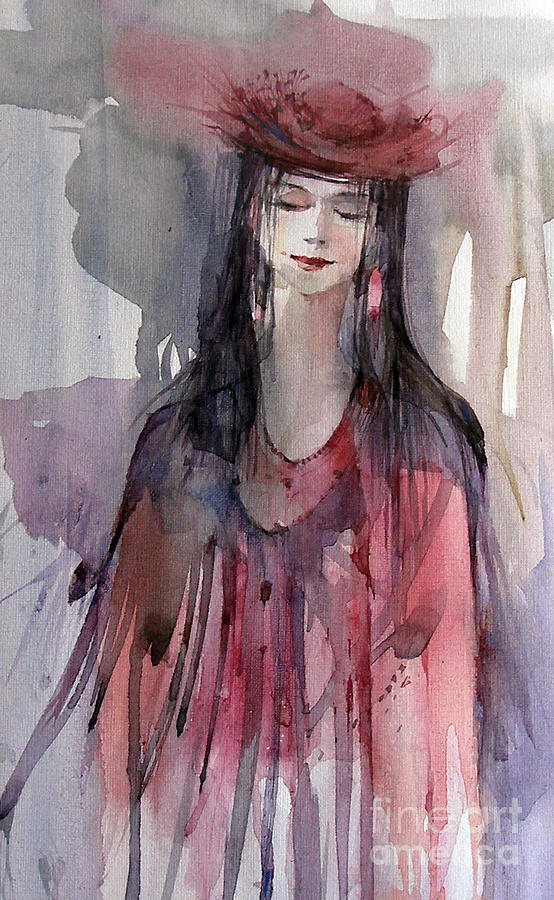 Lady In Red Painting - Lady In Red by Natalia Eremeyeva Duarte