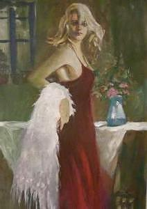 Painting Painting - Lady In Red by Perry  Rubenstein