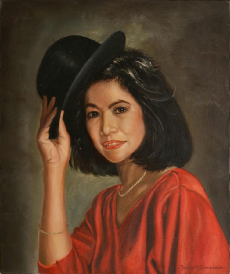 Oil Portrait Painting - Lady In Red by Rosencruz  Sumera
