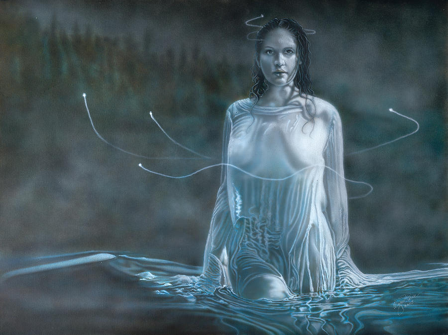 Lady In The Lake Painting by Wayne Pruse