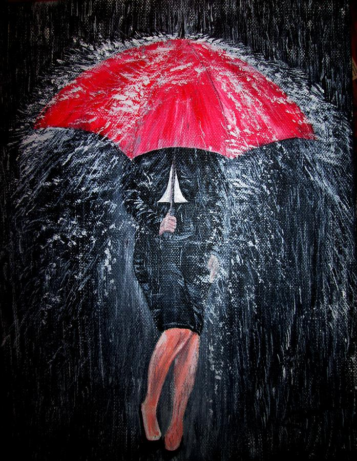 Lady in the rain painting by pauline mccarville for Painting red umbrella