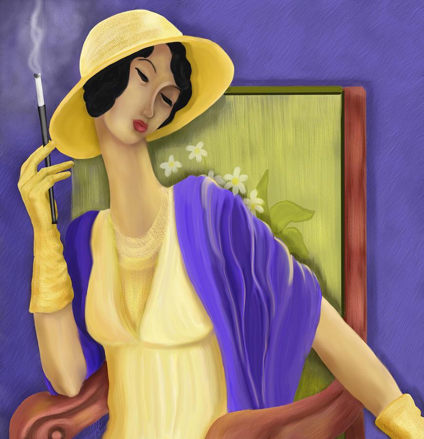 Hat Digital Art - Lady In The Yellow Hat by Sydne Archambault