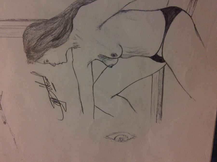Human Drawing - Lady In Thoughts by Mmushi Given Ditodi