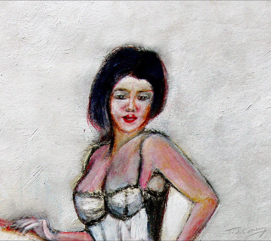 Lady Painting - Lady Jane With Red Lipstick by Tom Conway