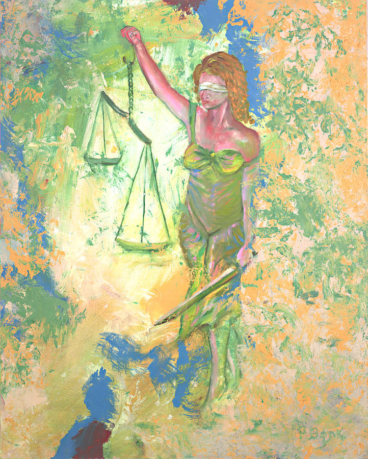 Law Painting - Lady Justice And The Man by Peter Bonk