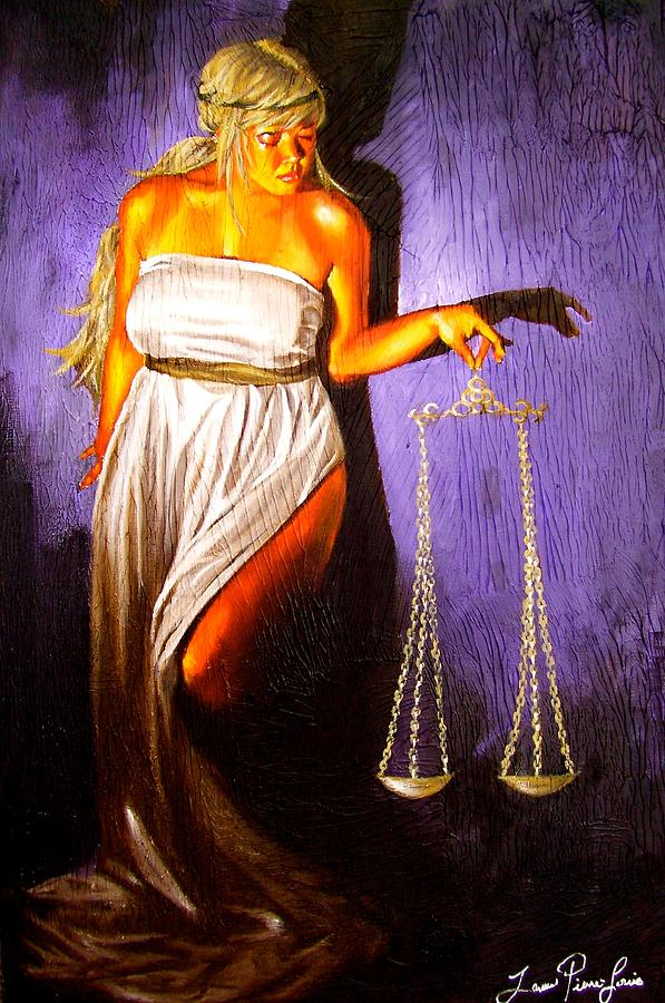 Law Painting - Lady Justice Long Scales by Laura Pierre-Louis