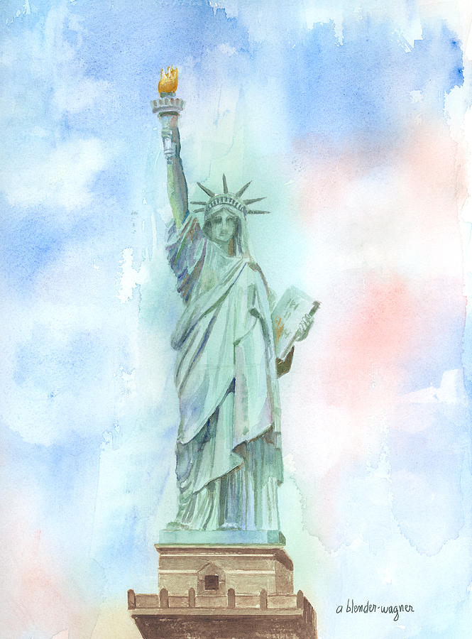 Statue Of Liberty Painting - Lady Liberty by Arline Wagner