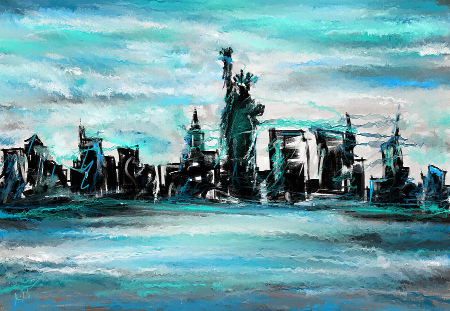 Lady Of Liberty Turquoise Painting