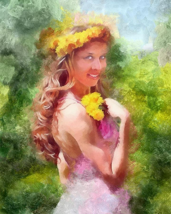 Dandelions Painting - Lady Of The Dandelions by Peter Kupcik