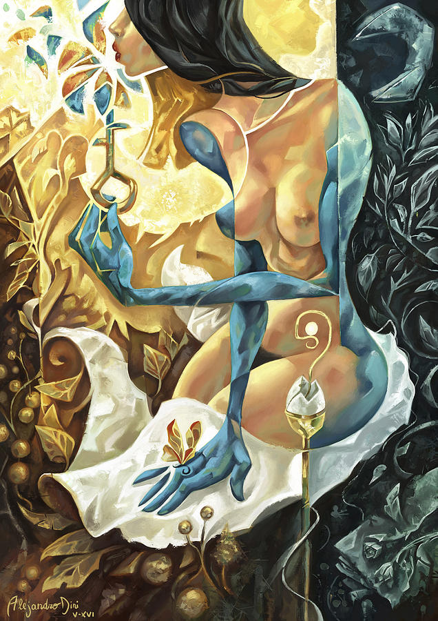 Blue Painting - Lady of The Key by Alejandro Dini