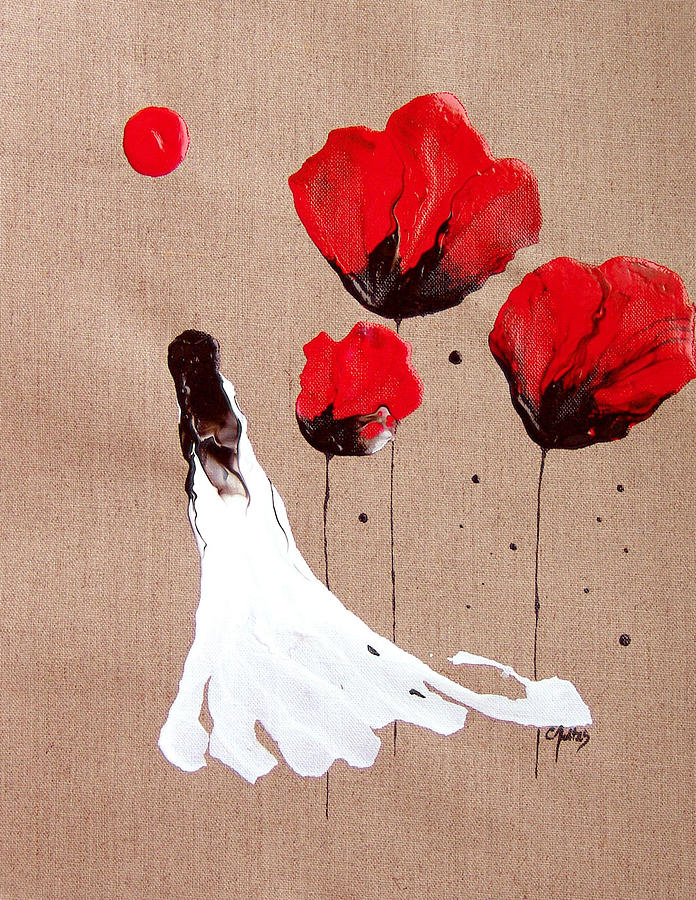 Linen Painting - Lady Of The Poppies -contemporary Abstract Woman Red Flowers Fantasy by Catherine Jeltes
