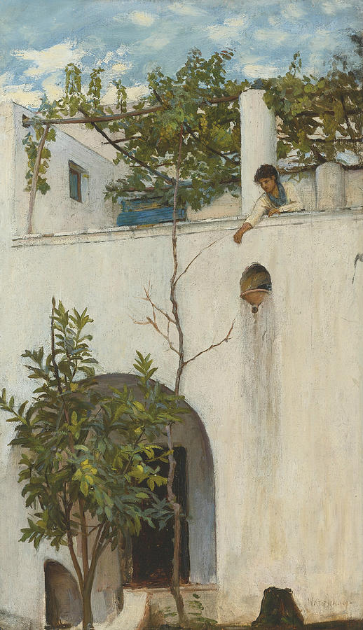 Capri Painting - Lady On A Balcony, Capri by John William Waterhouse