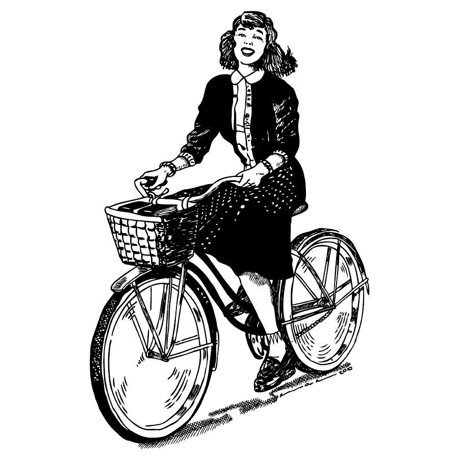 Drawing Drawing - Lady On A Bike by Karl Addison