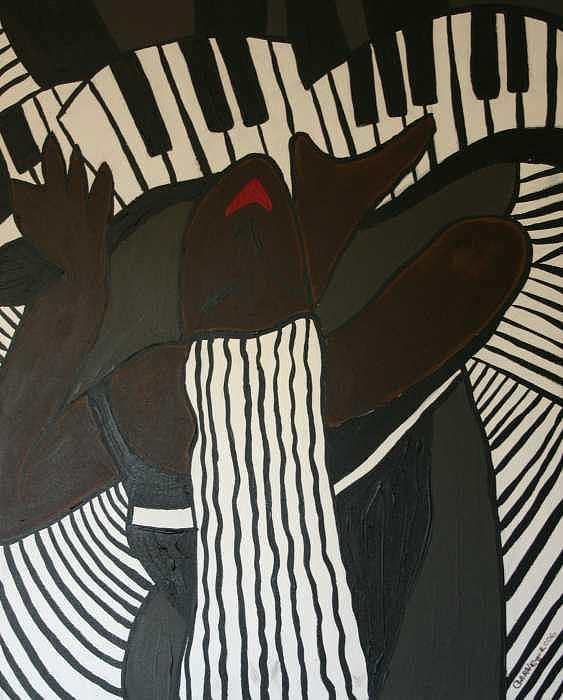 Abstract Painting - Lady Piano by Garnett Thompkins
