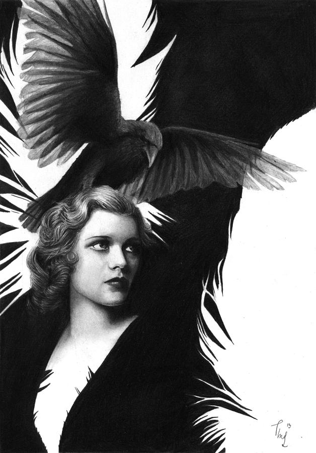 Pencil Drawing Drawing - Lady Raven Surreal Pencil Drawing by Thubakabra