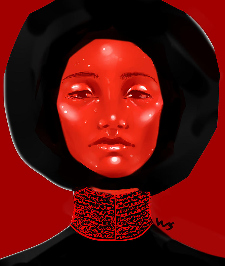 Lady Digital Art - Lady Red by Willow Schafer