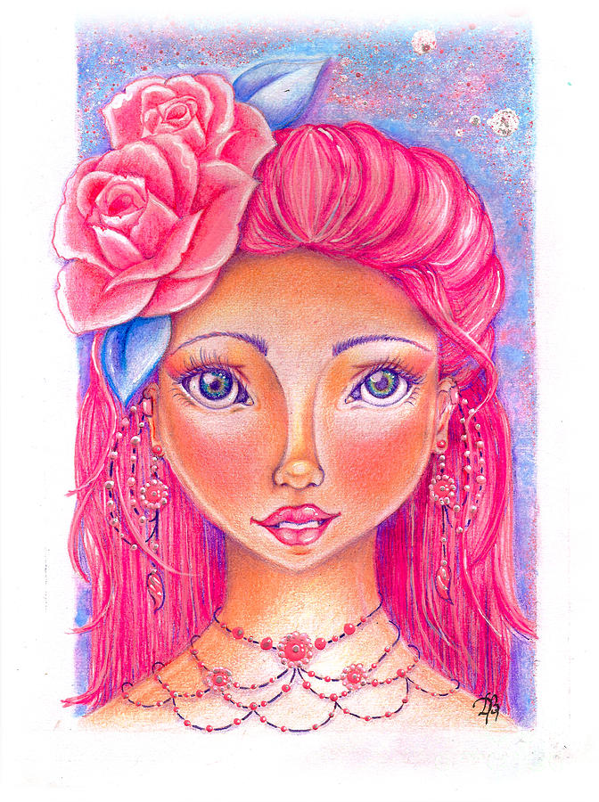 Doll Face Drawing - Lady Rose by Delein Padilla