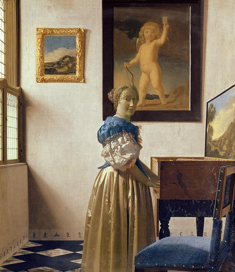 Lady Painting - Lady Standing At The Virginal by Jan Vermeer