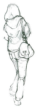 Drawing Drawing - Lady Waiting For Bus by Shantro  Buck