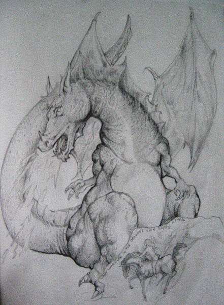 Figures Drawing - Lady Warrior And The Dragon by Bobby Barredo