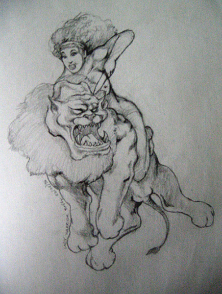 Figures Drawing - Lady Warrior And The Lion by Bobby Barredo