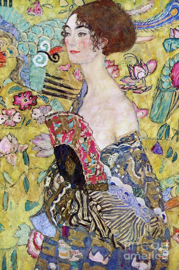 Klimt Painting - Lady With A Fan by Gustav Klimt