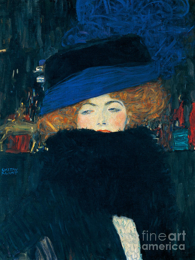 Klimt Painting - Lady With A Hat And A Feather Boa by Gustav Klimt