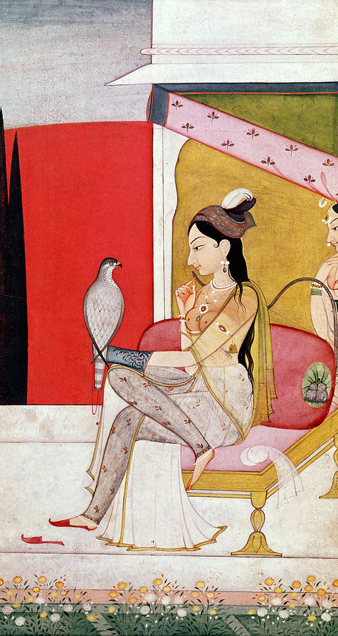 Lady Painting - Lady With A Hawk by Guler School