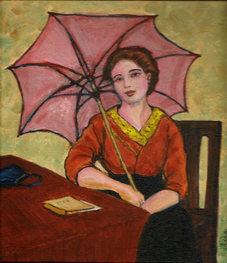 Lady With An Umbrella Painting by Asha Sudhaker Shenoy