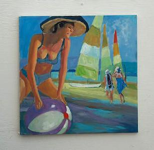 Painting Painting - Lady With Beach Ball by Perry  Rubenstein