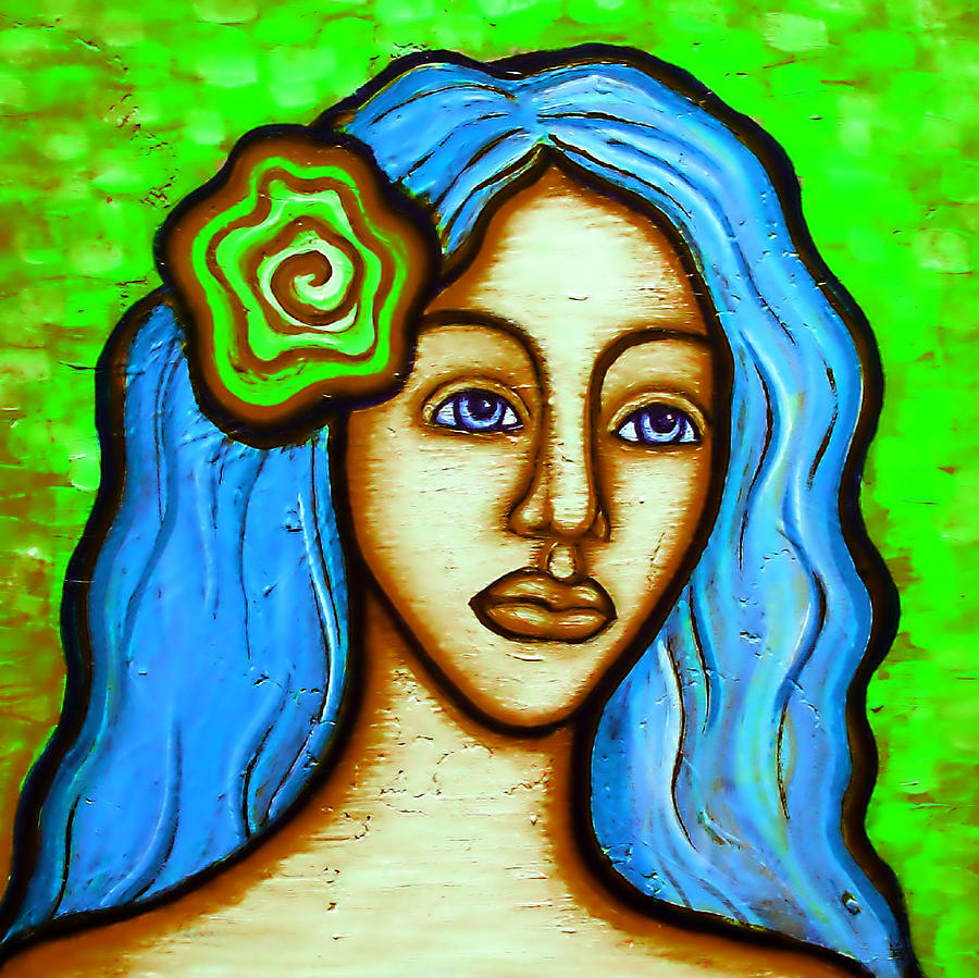 Lady With Green Flower Painting by Brenda Higginson