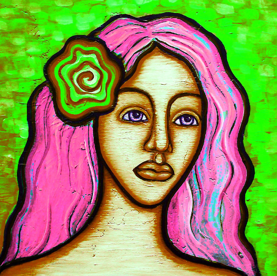 Female Painting - Lady With Green Flower-pink by Brenda Higginson