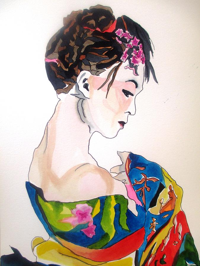 Kimono Painting - Lady With Kimono by Sacha Grossel