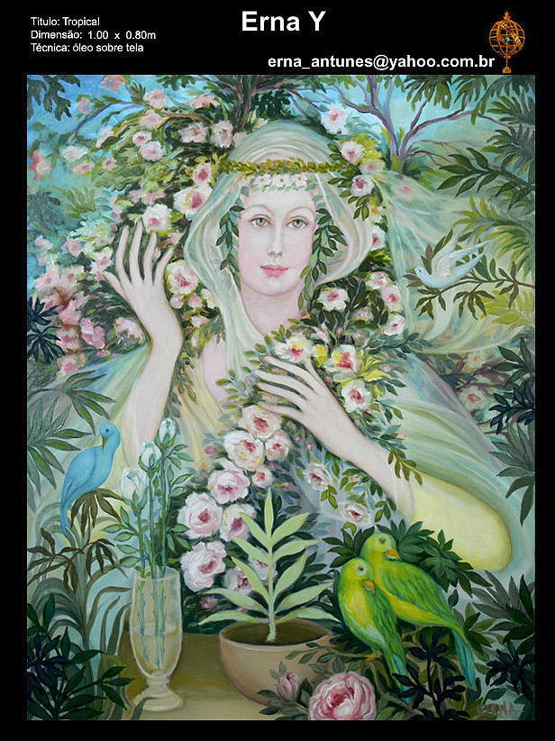 Lady With Parrots Painting by Erna Y