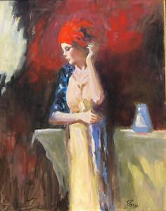 Painting Painting - Lady With Red Scarf by Perry  Rubenstein