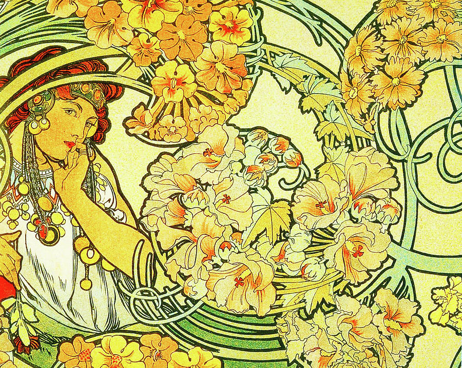 Alphonse Painting - Lady with yellow flowers by Alphonse Mucha