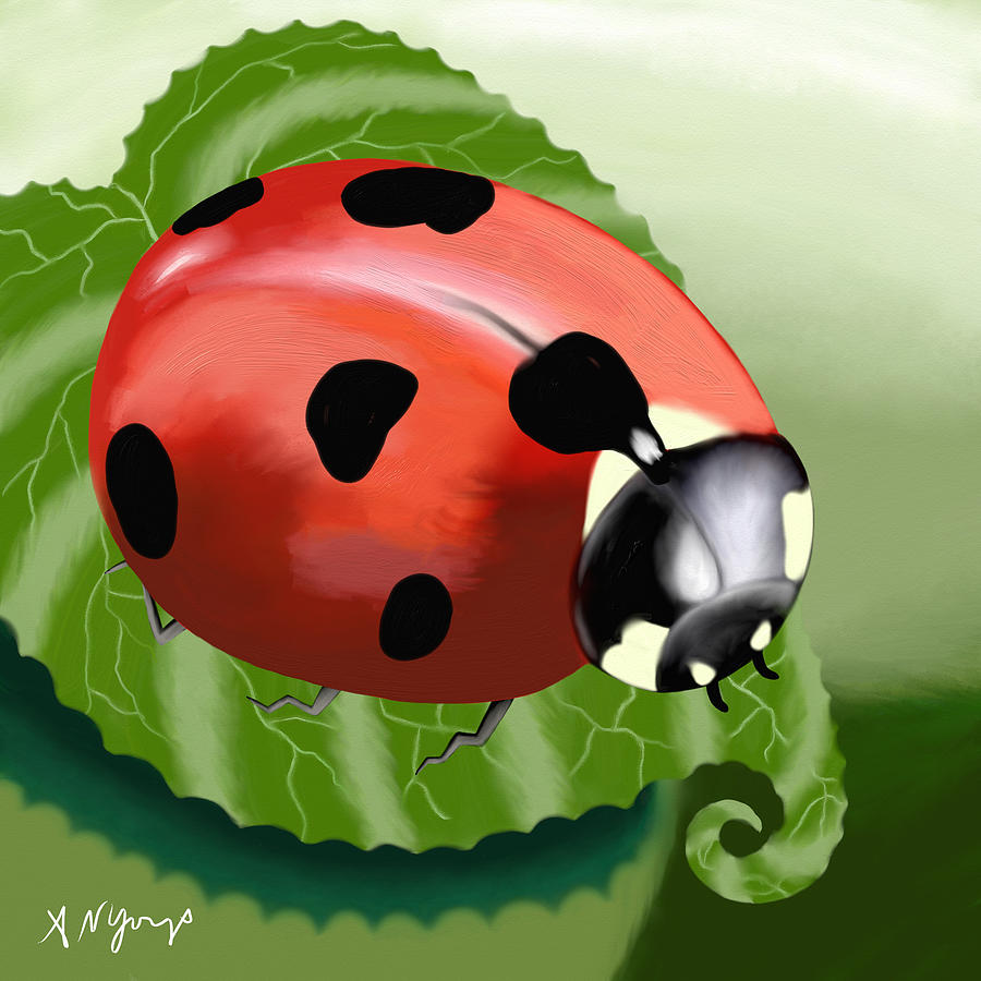 Ladybug Painting - Ladybug On Leaf by Aimee Youngs
