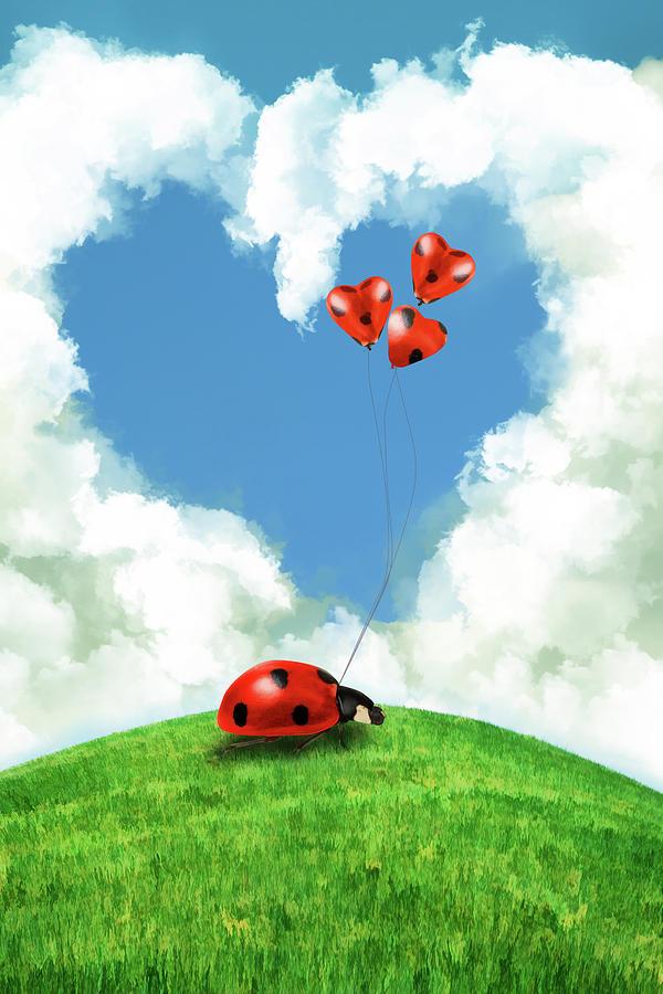 Ladybug With Heart Balloon Digital Art