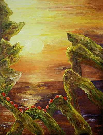 Ladybugs Worshipping Sunset Painting by Karina Ishkhanova