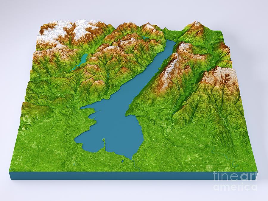 Lago Di Garda 3d Model Topographic Map Color Frontal Digital Art