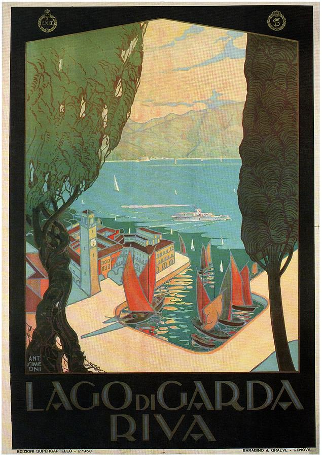 Lago Di Garda Riva, Italy - Lake Garda - Retro Travel Poster - Vintage Poster Mixed Media