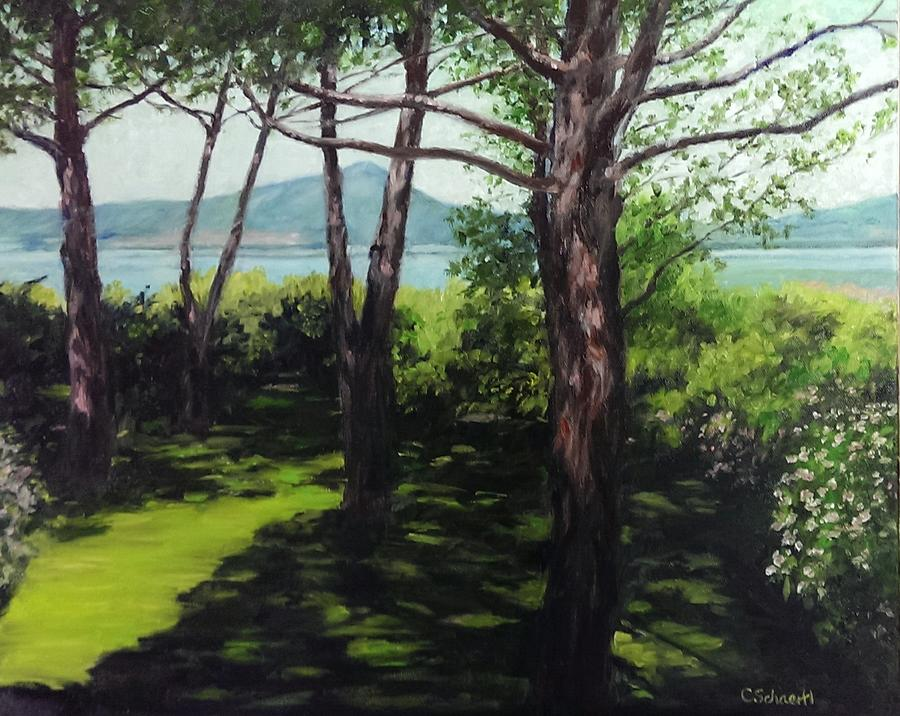 Lago di Vico and the Garden from the Terrace by Connie Schaertl