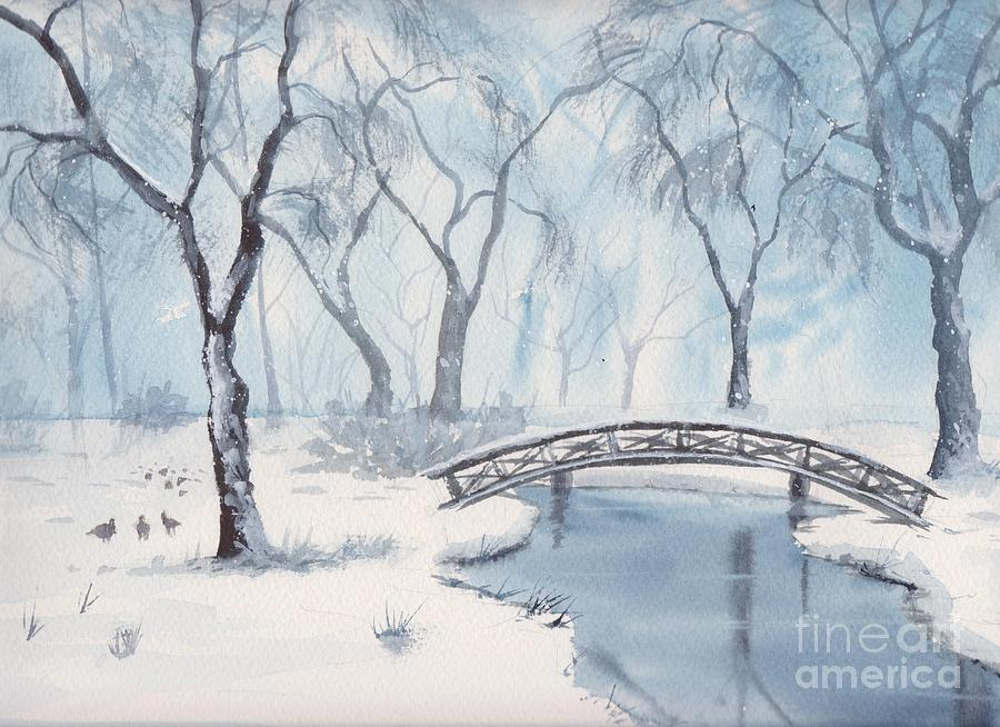 Lost Lagoon Painting - Lagoon Under Snow by Yohana Knobloch