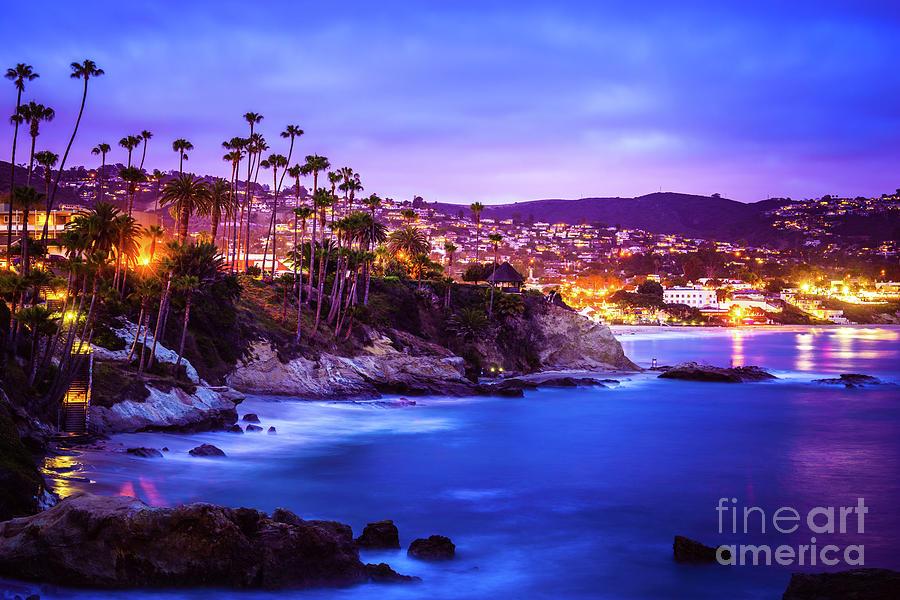Laguna Beach California City at Night Picture by Paul Velgos