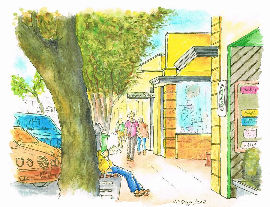 Watercolors Painting - Laguna-beach-california-street by Carlos G Groppa