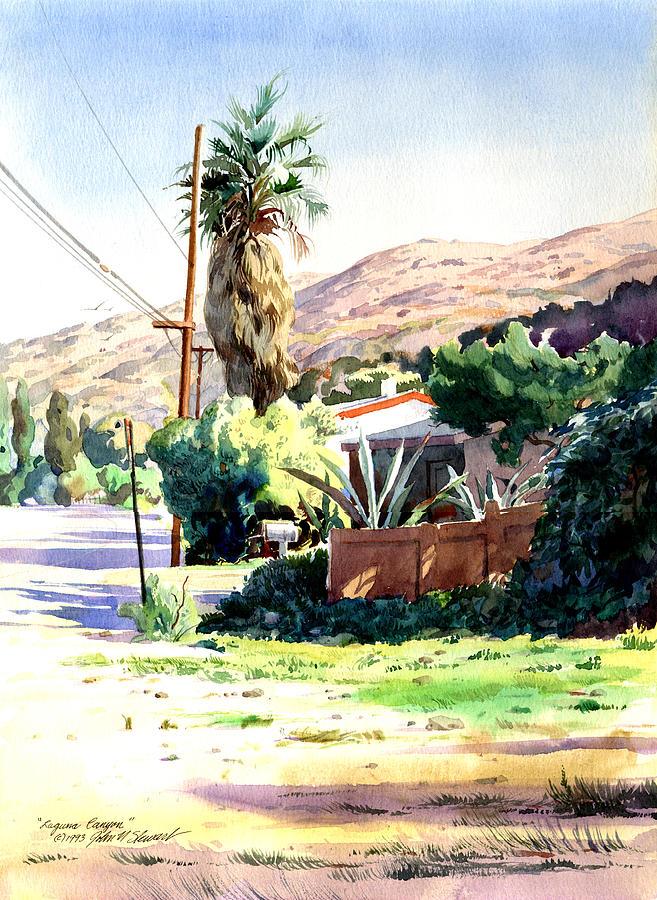 Watercolor Painting - Laguna Canyon Palm by John Norman Stewart